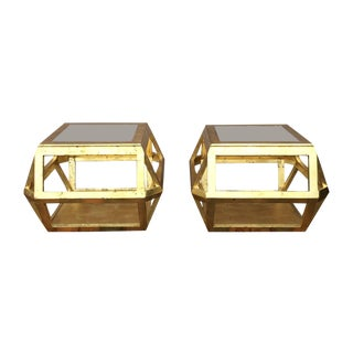 Vintage Gold Leaf Painted Side Tables - A Pair