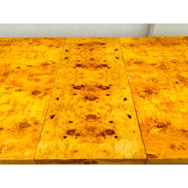 Burl Wood & Chrome Dining Table - Image 6 of 11