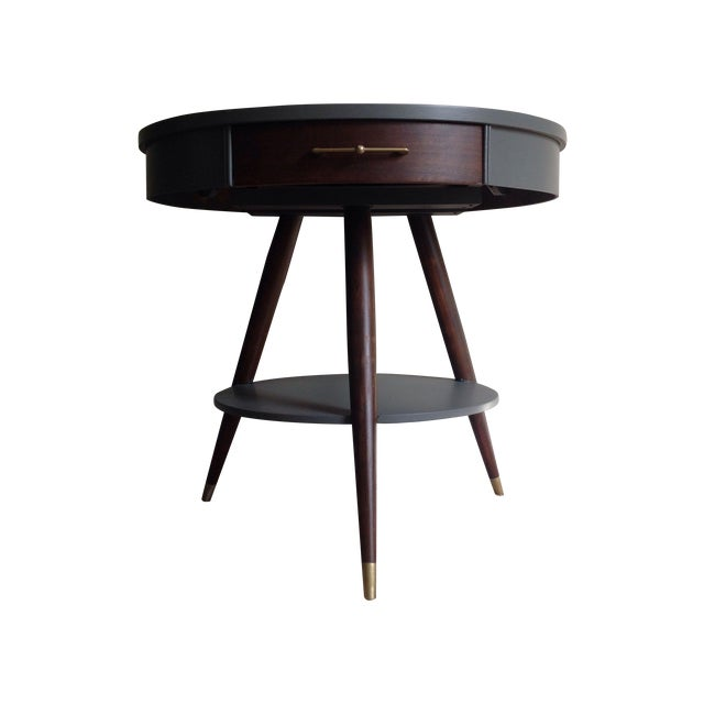 Mid-Century Tripod Leg Table with Drawer - Image 1 of 7