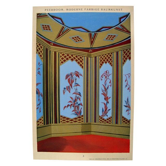 Deco turquoise interior pochoir 1929 chairish for Pochoir deco
