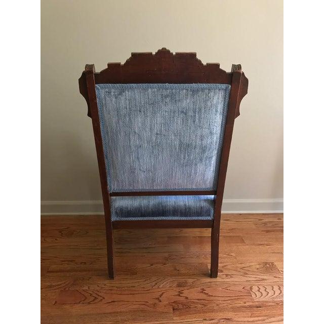 Blue Velvet Eastlake Chair - Image 6 of 9