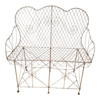 19th Century French Wire Garden Settee or Bench