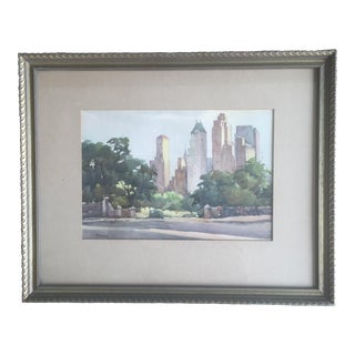 Antique Framed NYC Central Park Watercolor Painting Art Signed