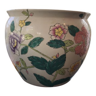 Vintage Chinese Ceramic Export Fish Bowl Planter