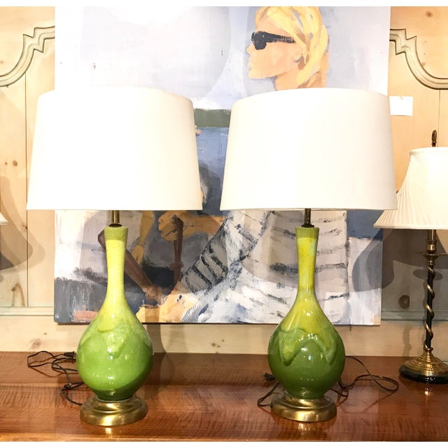 Mid-Century Green Glazed Lamps - A Pair - Image 5 of 10
