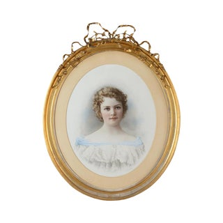 """19th Century French """"Portrait of Girl"""" Painting"""