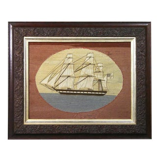 British Sailor's Woolwork Woolie Picture of a Ship, Circa 1865-1875.