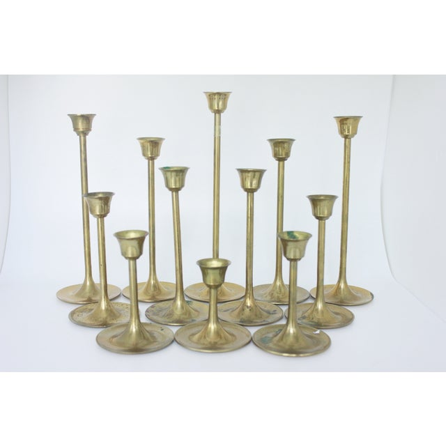 Image of Brass Candlestick Collection - Set of 12