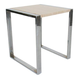 Mid-Century Modern Stainless Steel & Travertine Side Table