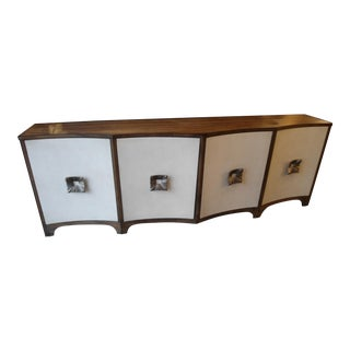 Hooker Dark Wood Console With White Leather Doors