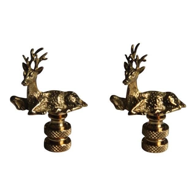 Image of Brass Deer Lamp Finials - A Pair