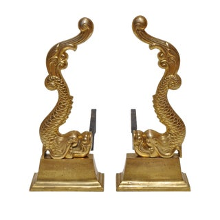 19th Century Brass Baroque Dolphin Andirons