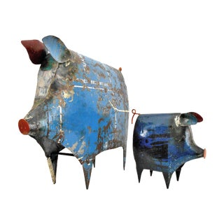 Recycled Metal Pig Sculptures - a Pair