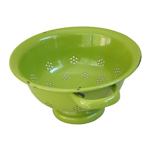 1930s Green French Porcelain Colander - Image 3 of 4