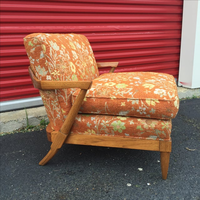 Mid-Century Orange Floral Lounger - Image 4 of 10