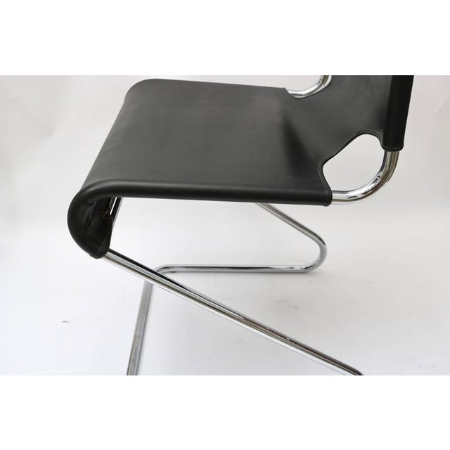 "Set of Four ""Briscia"" Side Chairs in Polished Chrome and Black Leather - Image 5 of 7"