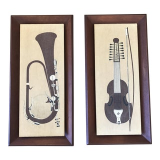 Walnut Speakers Musical Instrument Graphic - a Pair