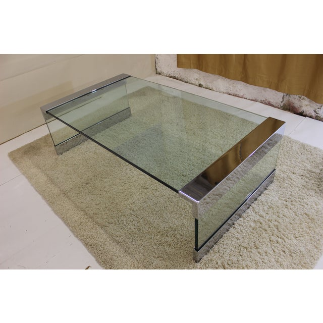 Pace Chrome & Glass Coffee Table - Image 3 of 7