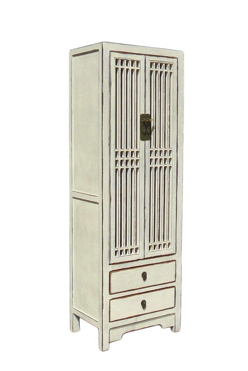 Rustic White Tall Narrow Cabinet, Shutter Doors   Image 2 Of 4