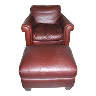 Natuzzi Leather Club Chair & Ottoman