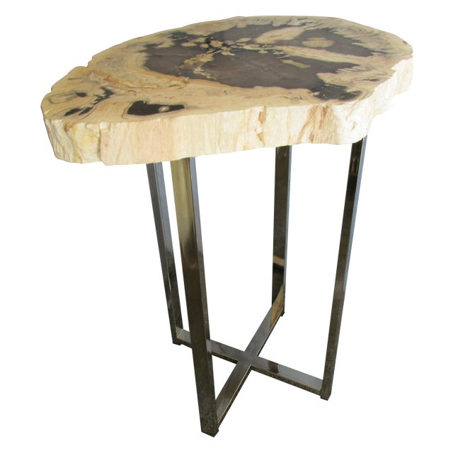 Image of Fossilized Wood Top Side Table
