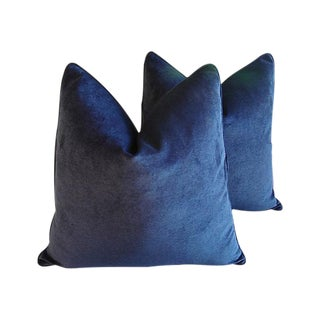 Custom Tailored Midnight Blue Velvet Feather/Down Pillows - Pair