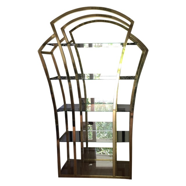 brass art deco glass etagere chairish. Black Bedroom Furniture Sets. Home Design Ideas