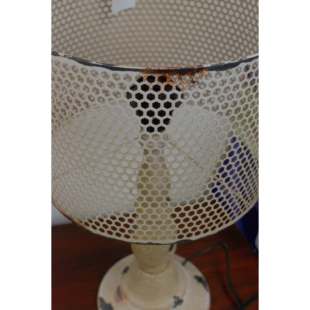Rustic Cream Metal Hole Punched Table Lamp - Image 5 of 5