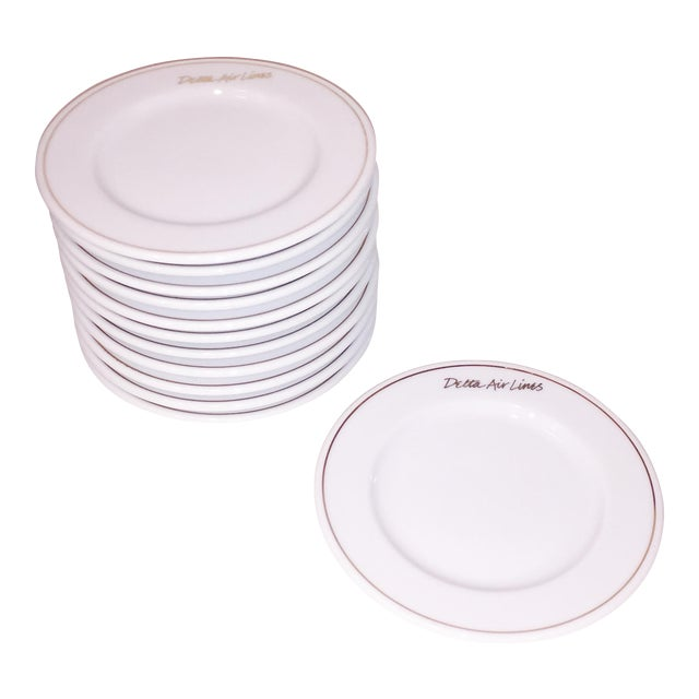 Gold Rim Delta Air Lines Plates - Set of 12 - Image 1 of 4
