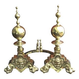 19th Century Monumental English Brass Satyr Mask Andirons - A Pair