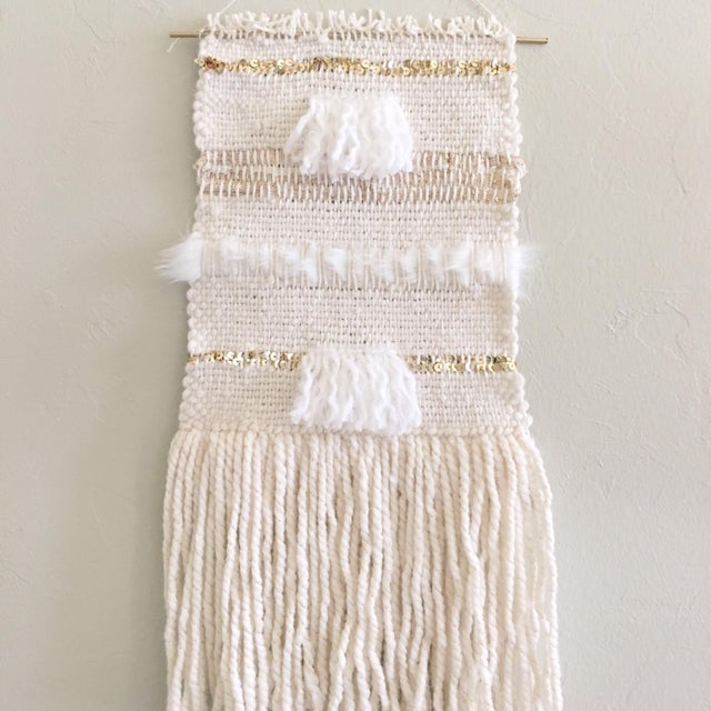 Image of Handmade Gold & Faux Fur Wall Weaving