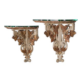 Pair Antique French Louis XVI Painted Wall Brackets Bordeaux circa 1880