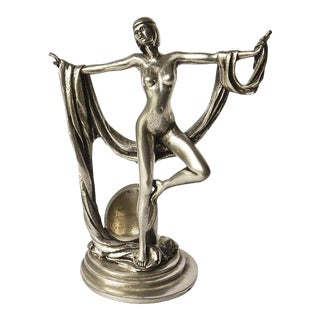 Art Deco Naked Lady Pewter Candle Holder