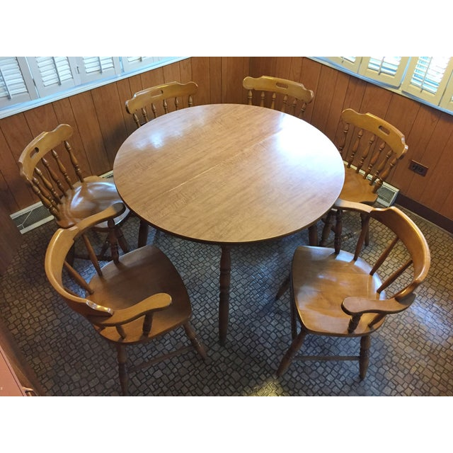 Mid-Century Modern Captain's Table & Six Chairs - Image 3 of 8