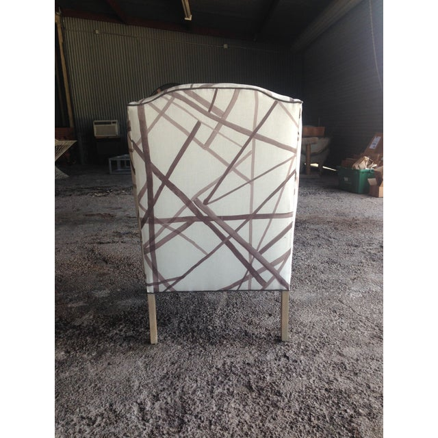 Image of Vintage Wingback Chair in Abstract Lines Upholstery