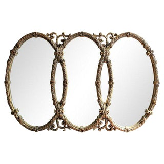 French Triple Oval Gold Mirror-Vintage