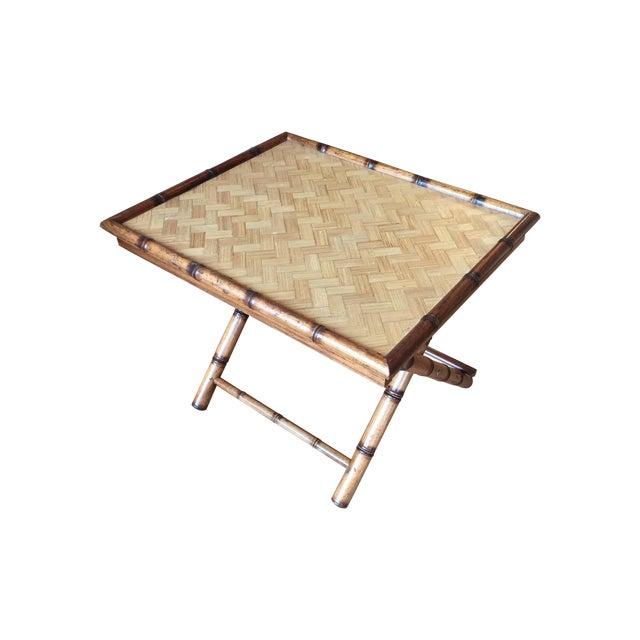 Image of Mid-Century Rattan Folding Side Table