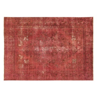 Persian Overdyed Rose Red Tabriz Rug 10' x 13'