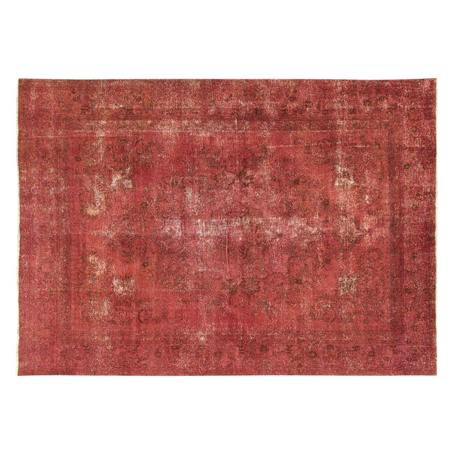 Persian Overdyed Rose Red Tabriz Rug 10' x 13' - Image 1 of 8