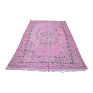"Hand Knotted Overdyed Turkish Pink Rug - 72"" x 114"""