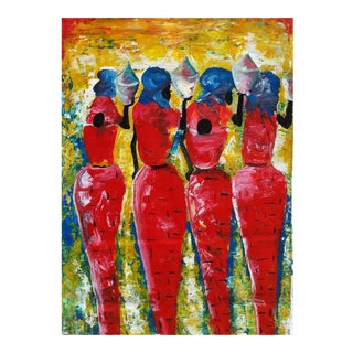 """Large Rwanda African """"Women With Tangines"""" Acrylic Painting by J d'Amour"""