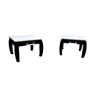 Black Lacquered Chinese Inspired White Marble Top Side Tables - A Pair