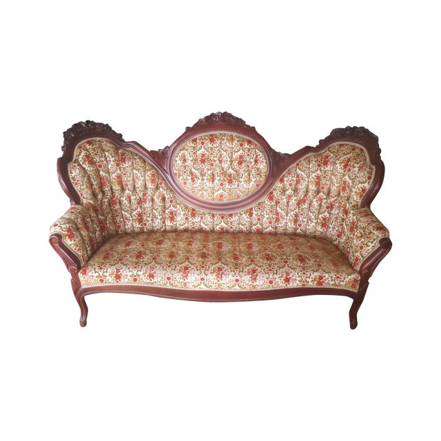 Image of Antique Carved Wood Victorian Loveseat
