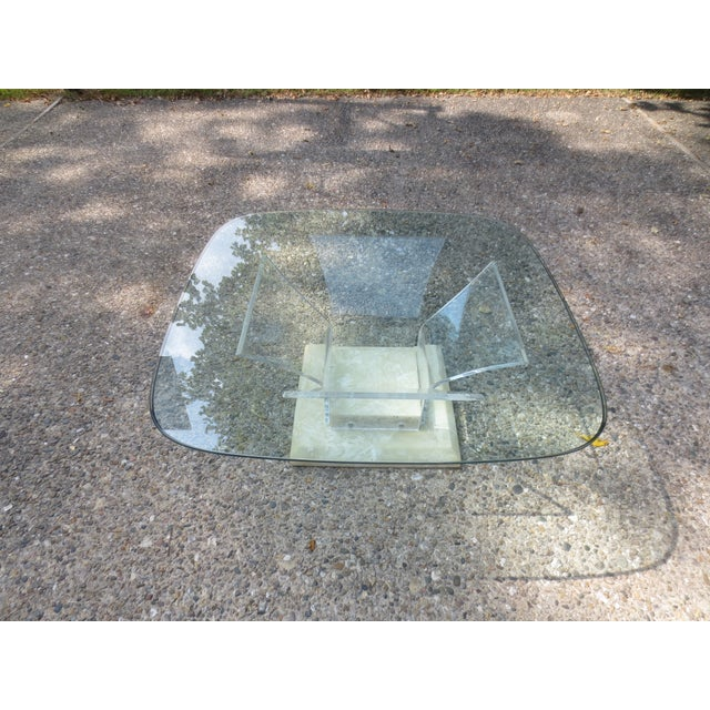 Image of 1970s Lucite and Glass Coffee Table