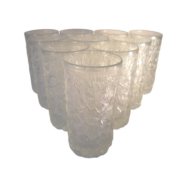 Danish Modern Ice-Textured Glasses - Set of 10 - Image 1 of 8