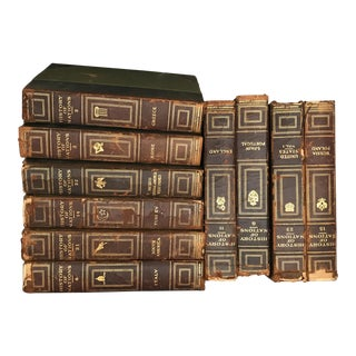 "Vintage Antique ""History of Nations"" Leather Books - Set of 10"