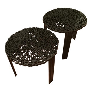 Contemporary Black Resin Tables - a Pair