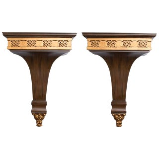 Pair of Rosewood Grain Painted and Gilt Composition Brackets