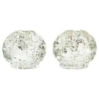Glass Textured Ball Candle Holders - A Pair