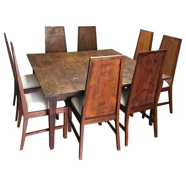 Rustic Square Mahogany Dining Set - Image 1 of 9